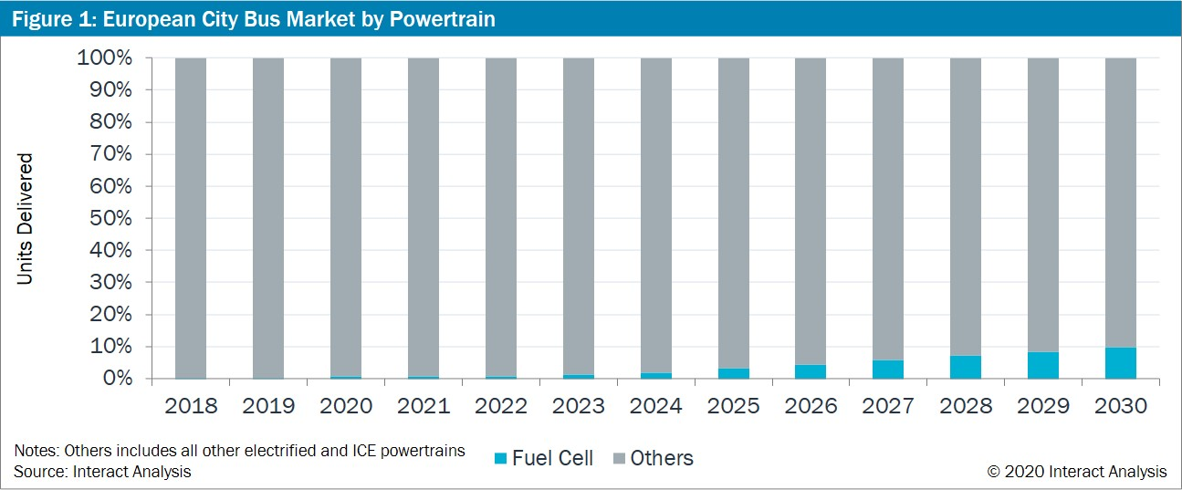 European city bus market by powertrain (including fuel cell bus market)